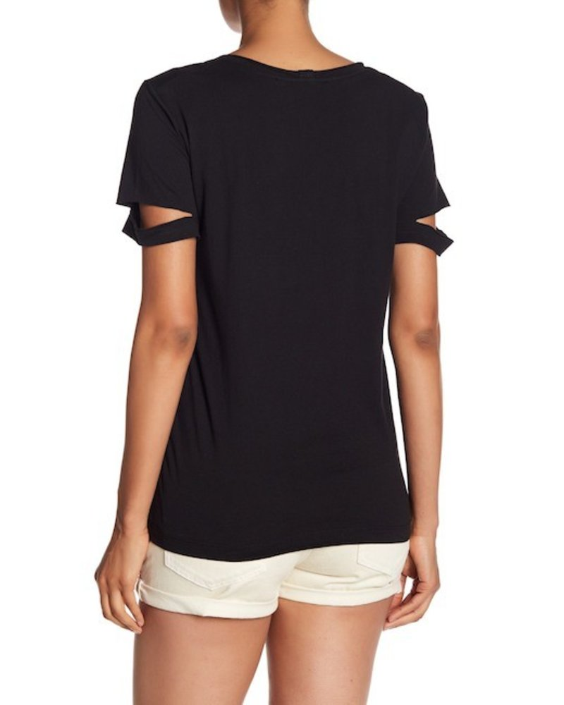 HELMUT LANG BLACK VNECK SLASH T
