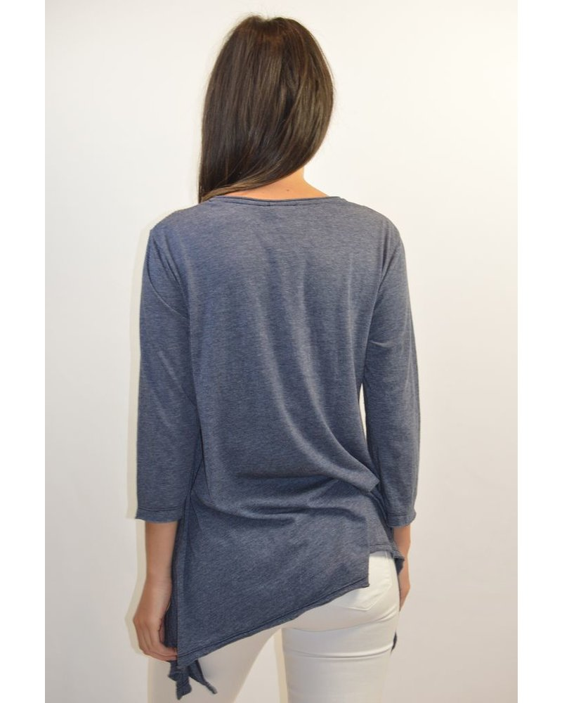 JOHNNY WAS 3/4 SLEEVE TRAPEZE TEE