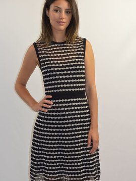 M MISSONI BLK/WHITE/GOLD FLARE DRESS