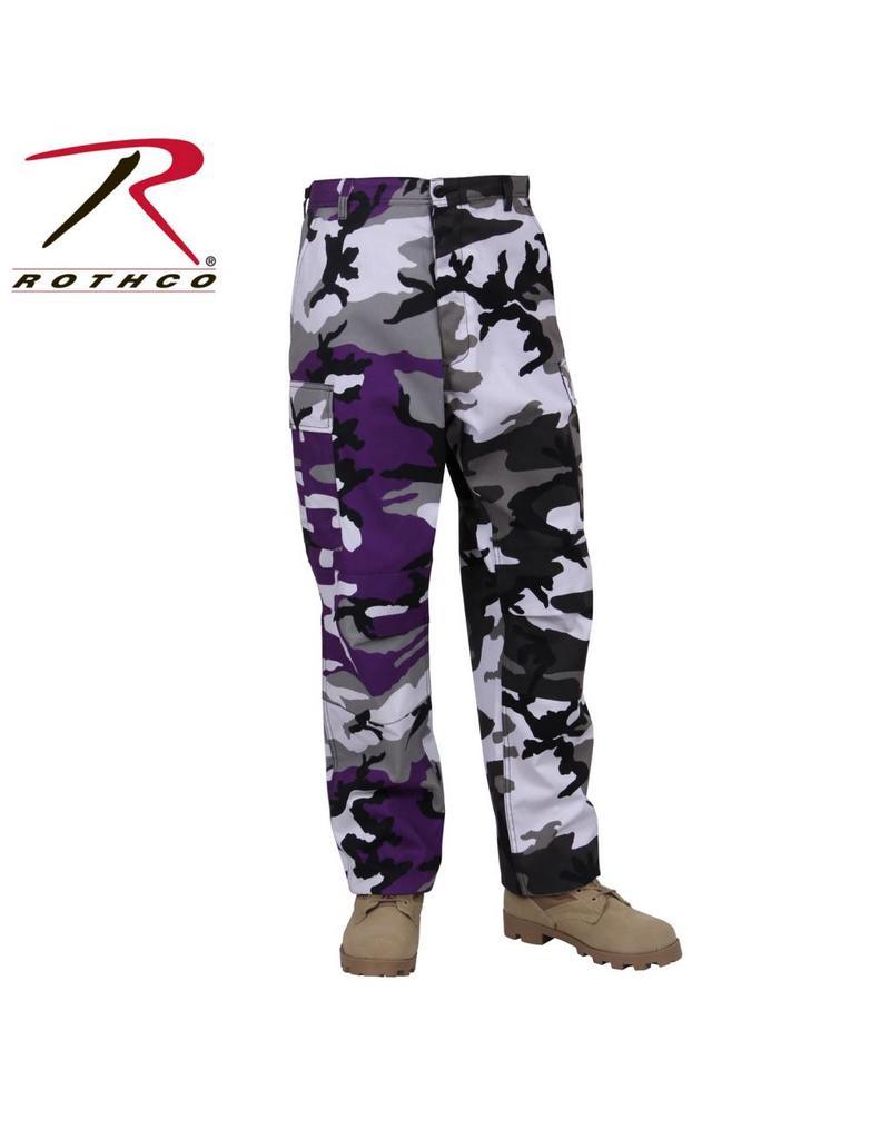 ROTHCO Pantalon Style Militaire Deux Couleurs Mauve-urbain