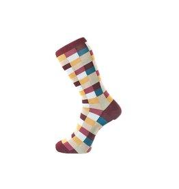 Fortis Green Check Pattern Sock In Burgundy