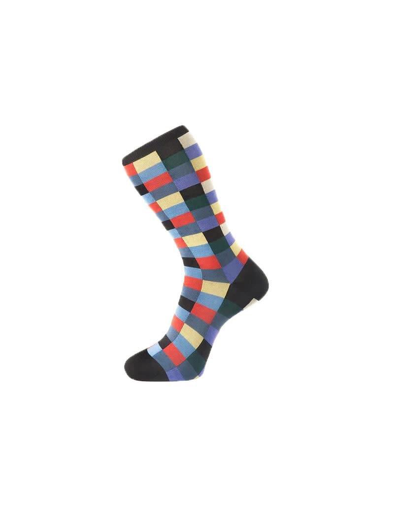 Fortis Green Check Pattern Sock In Navy