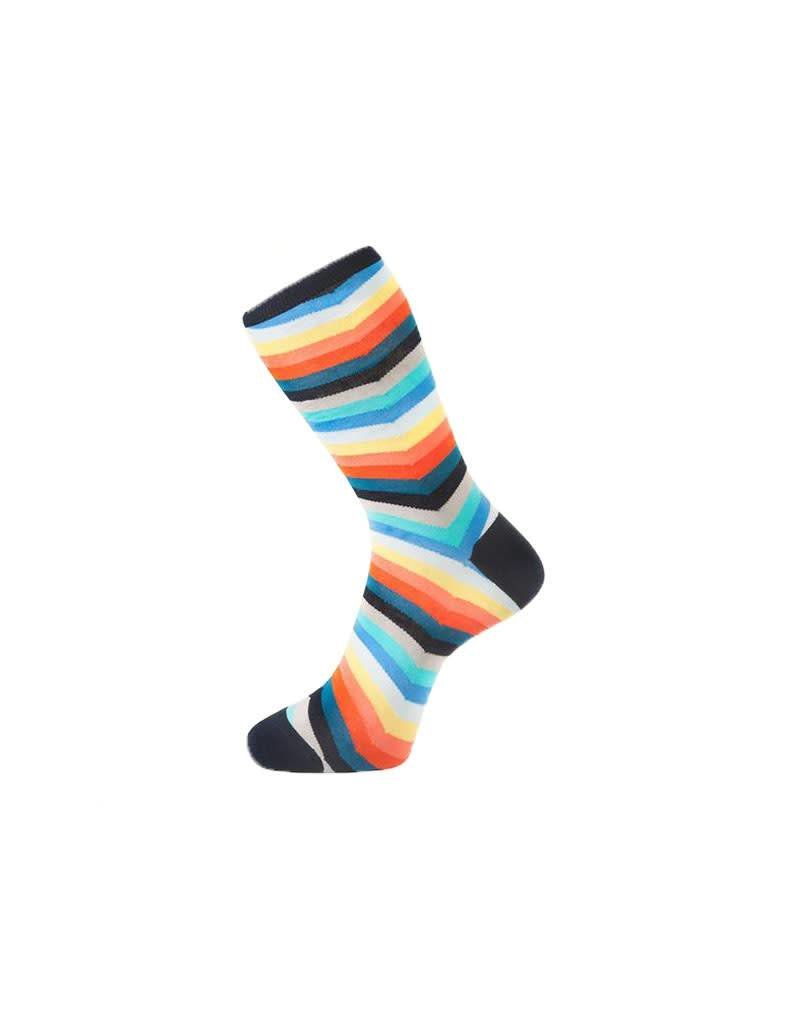Fortis Green Chevron Stripe Pattern Sock In Multi Colour