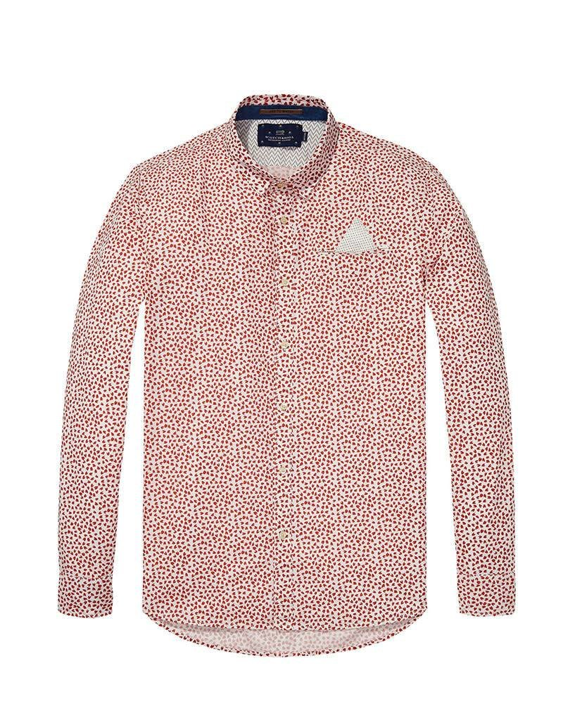 Scotch & Soda Long Sleeve Shirt With Fixed Pocket | Red/white 139554-0219