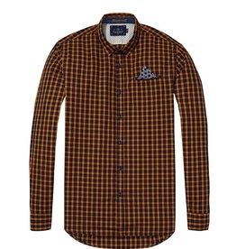 Scotch & Soda Long Sleeve Shirt With Fixed Pocket | Orange/blue Check 139554-0221