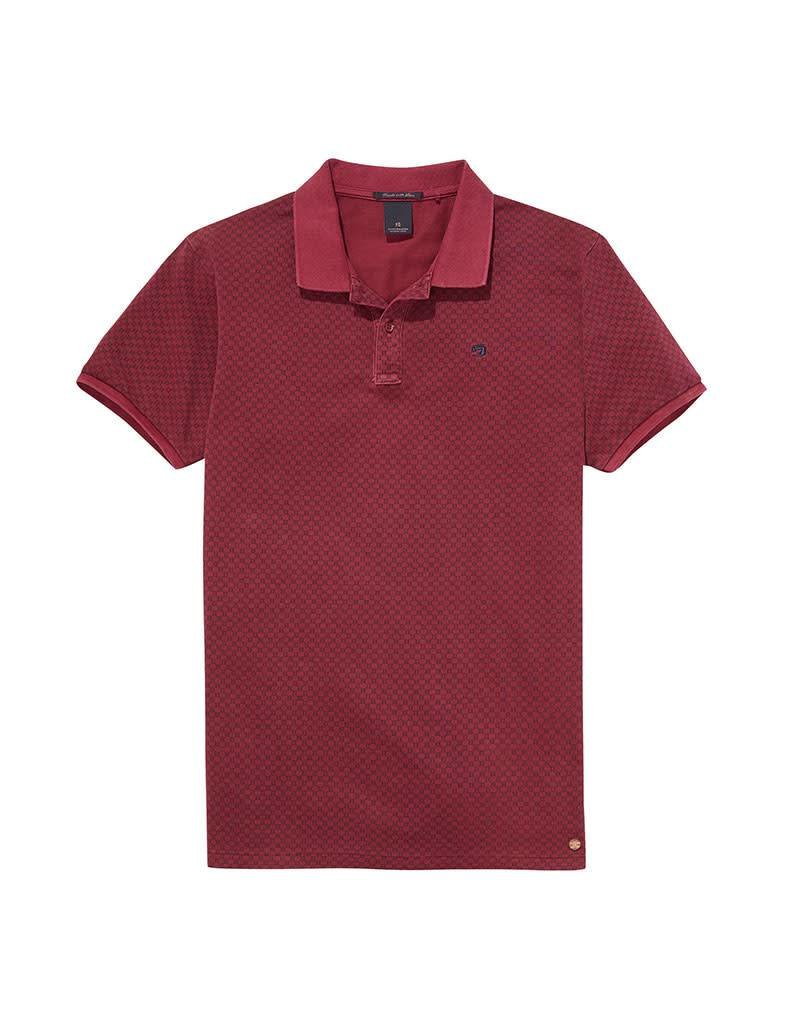 Scotch & Soda Garment Dyed Printed Polo In Cotton Pique | Plumb 139762-0217