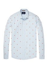 Scotch & Soda Longsleeve Shirt With Allover Embroidery | White/ Orange Flames 139592-0218