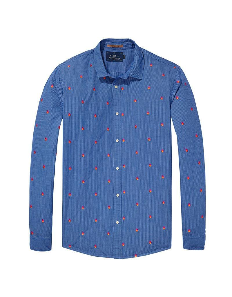 Scotch & Soda Longsleeve Shirt With Allover Embroidery | Blue/ Orange Flames 139592-0219