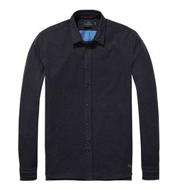 Scotch & Soda Longsleeve Shirt In Lightweight Brushed Cotton | Graphite 139574-0810