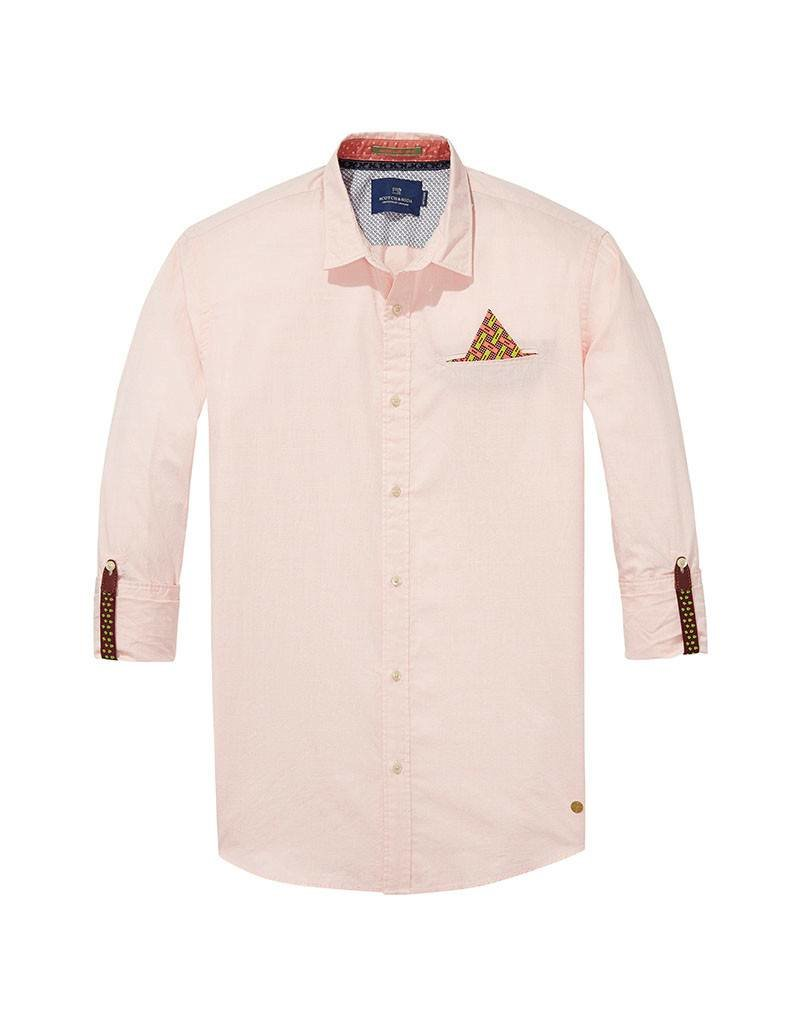 Scotch & Soda Classic Shirt With Fixed Pocket and Sleeve Collectors | Pink / Rust 139551-0218