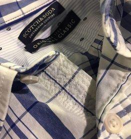 Scotch & Soda Button Through Check Shirt    White With Blue 101398-0017