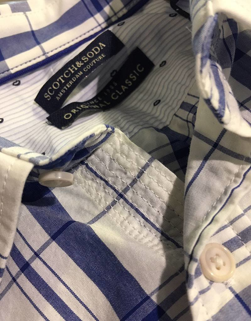 Scotch & Soda Button Through Check Shirt  | White With Blue 101398-0017