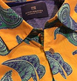 Scotch & Soda Printed Button Through Shirt  | Jagar With Blue Paisley 101466-0017