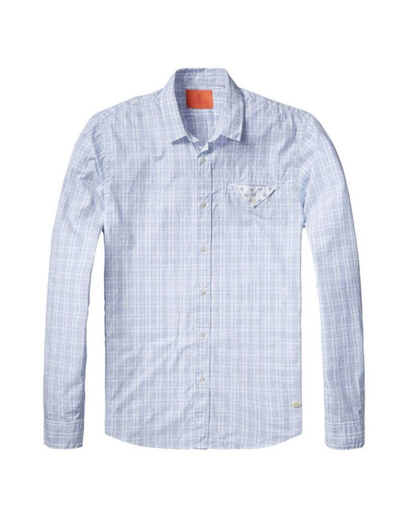 Scotch & Soda Checked Button Through Shirt With Fixed Pocket  | White With Blue 130706-A