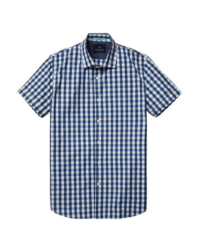 Scotch & Soda Short Sleeved Button Through Shirt  | Blue White 130740-D