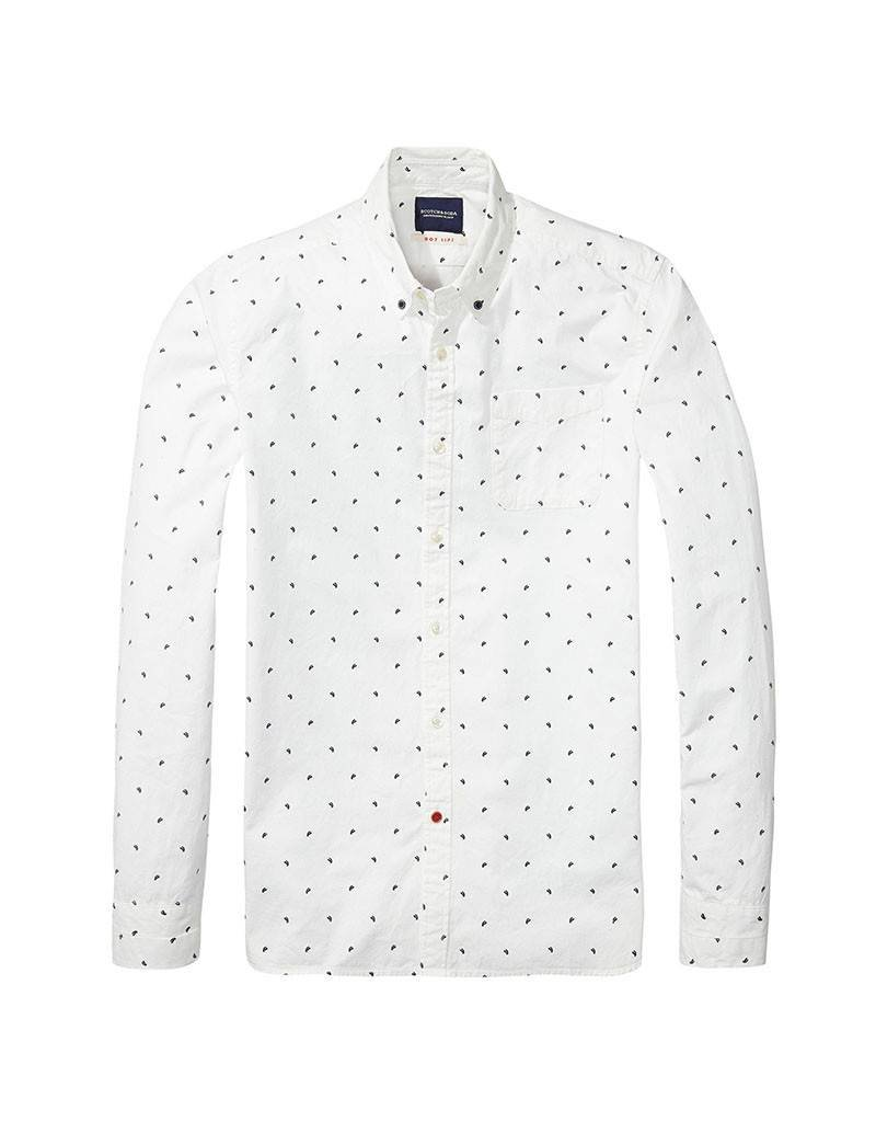 Scotch & Soda Vintage Button Through Shirt  | White With Blue 134360-17