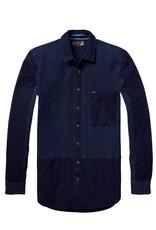Scotch & Soda Indigo Engineered Button Through Shirt | Navy 136315-0089