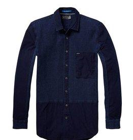 Scotch & Soda Indigo Engineered Button Through Shirt   Navy 136315-0089