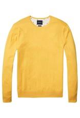 Scotch & Soda Classic Crewneck Pull Over In Cotton Cashmere | Yellow 138732-1332