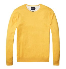 Scotch & Soda Classic Crewneck Pull Over In Cotton Cashmere | Yellow 138732-1332