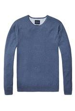 Scotch & Soda Classic Crewneck Pull Over In Cotton Cashmere | Blue 138732-1342