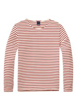 Scotch & Soda Classic Cotton Stripped Crewneck Pull Over  | Red / Creme 134312-17
