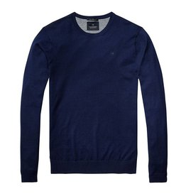 Scotch & Soda Crewneck Pullover In Soft Cotton With Pocket | Navy 136542-0004