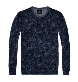 Scotch & Soda Printed Soft Cotton Crewneck Pullover | Navy / Grey-Blue 136542-0217