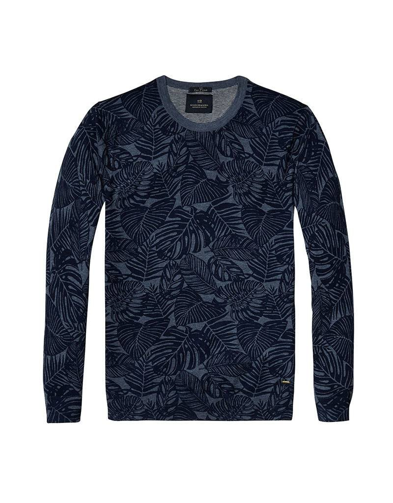 Scotch & Soda Printed Soft Cotton Crewneck Pullover | Navy / Grey-Blue 136542-0217