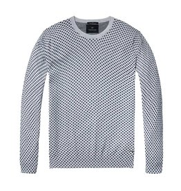 Scotch & Soda Printed Soft Cotton Crewneck Pullover | Navy Spots on Grey 136542-0218