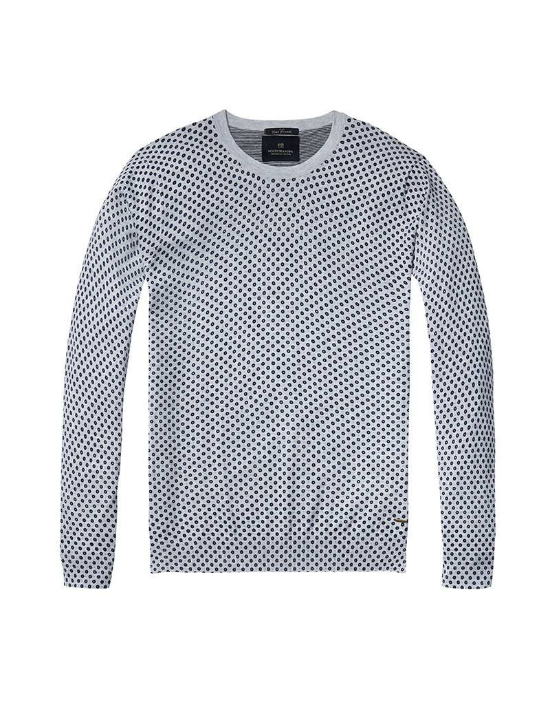 Scotch & Soda Printed Soft Cotton Crewneck Pullover | Navy Spots on Grey 136542-0218