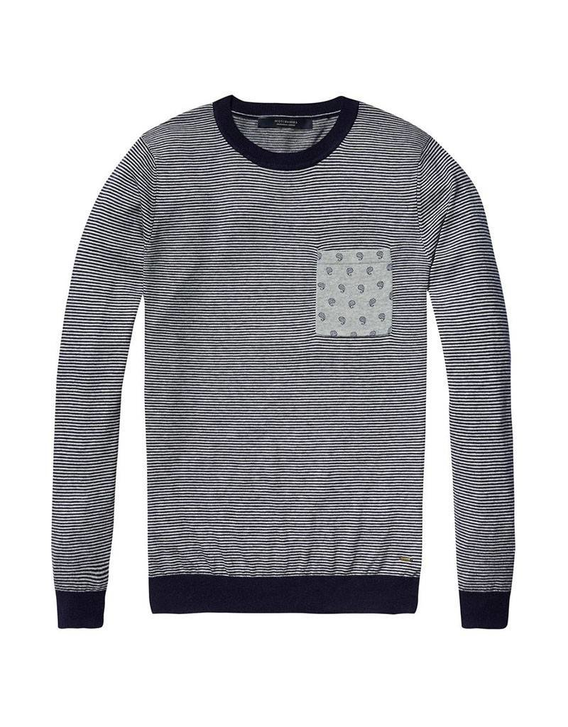 Scotch & Soda Striped Soft Cotton Crewneck Pullover With Pocket | Grey-Blue 136571-0217
