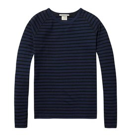 Scotch & Soda Cotton Crewneck Pullover | Navy Striped 137736-18