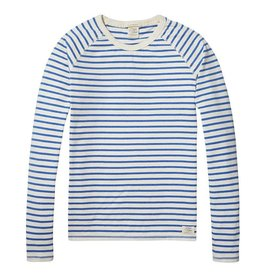 Scotch & Soda Home Alone Heavy Cotton Crewneck Pullover |White / Blue Striped 137736-17