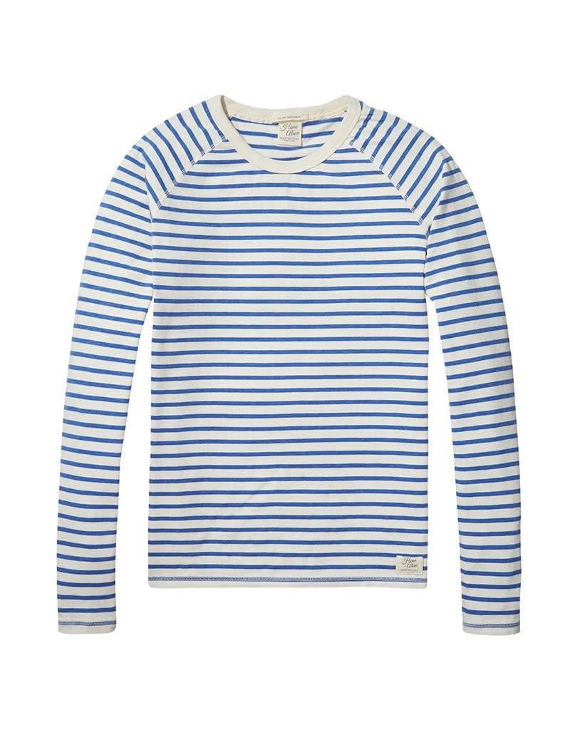 Scotch & Soda Home Alone Heavy Cotton Crewneck Pullover  White / Blue Striped 137736-17