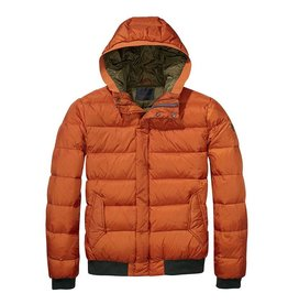 Scotch & Soda Quilted Down Nylon Bomber Jacket With Hood | 139197-1141