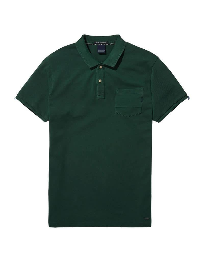 Scotch & Soda Garment Dyed Polo With XXX Pocket | Green 137773-0736