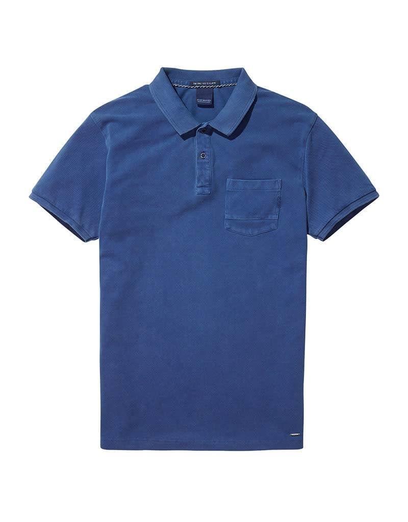 Scotch & Soda Garment Dyed Polo With XXX Pocket | Blue 137773-1148