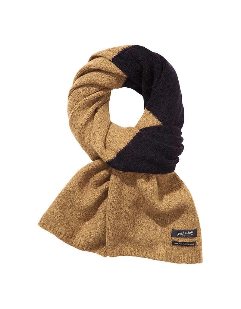 Scotch & Soda Scarf In Brushed Wool Blend Blocked Stripe Tobacco/ Brown 139882-0218