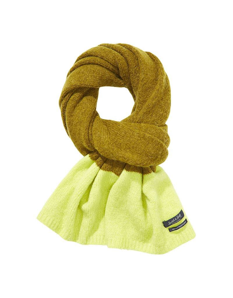 Scotch & Soda Scarf In Brushed Wool Blend Blocked Stripe | Green/ Yellow 139882-0219
