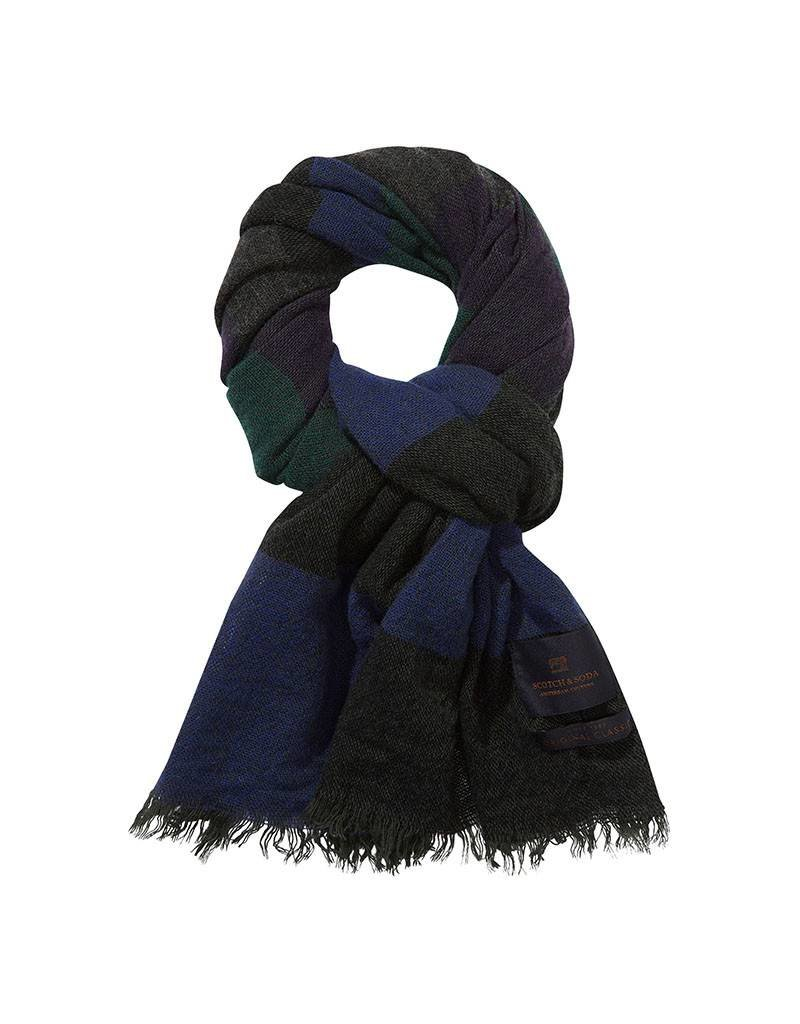 Scotch & Soda Scarf In Brushed Wool Blend | Navy / Green 139883-0217