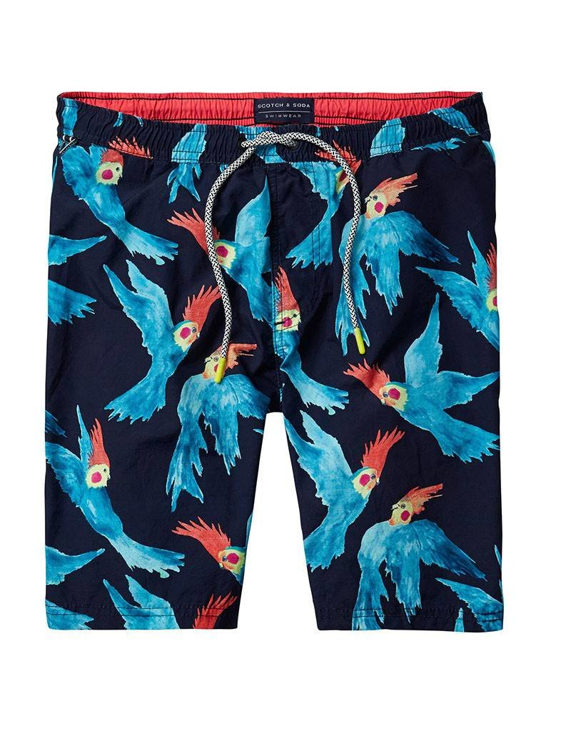 Scotch & Soda Printed Classic Swimshorts | Blue Parrots 136688-0221