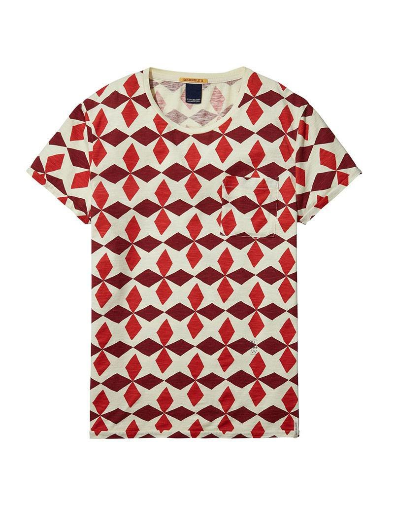 Scotch & Soda Printed Tee With Regular Fit | Red/white 137752-0018