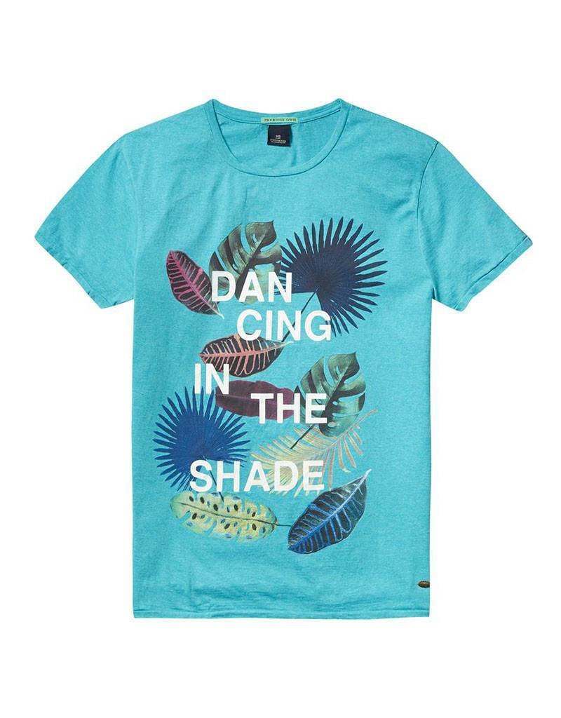 Scotch & Soda Printed Tee With Regular Fit | Turquoise 136471-1292