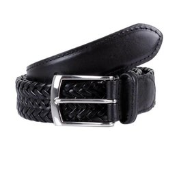 Dents Black Woven Leather Belt | 8-4031