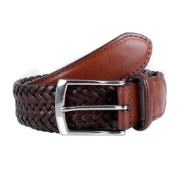 Dents Brown Woven Leather Belt | 8-4031