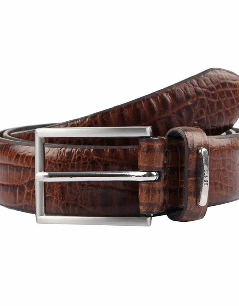Dents Brown Textured Leather Belt | 8-2006