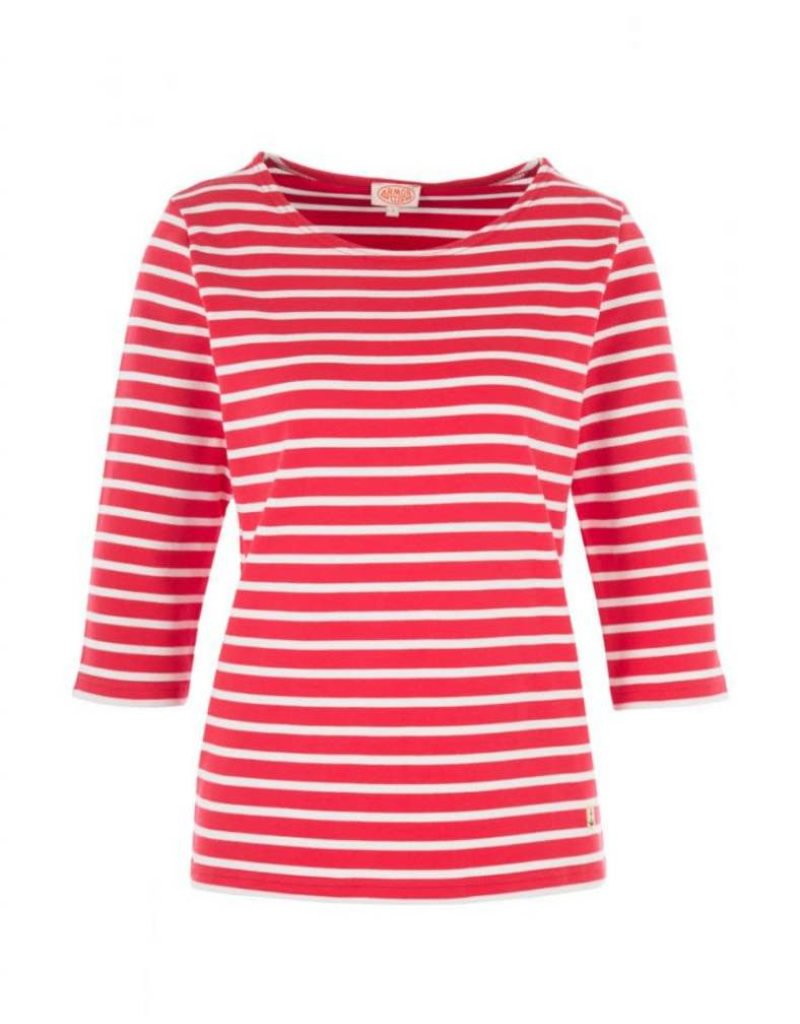 Armor Lux Women's Breton Mariniere Long Sleeve Striped Tee | Red