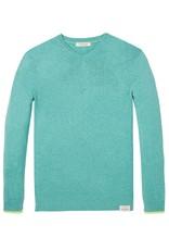 Scotch & Soda Classic V-neck Pull In Soft Cotton | Jade