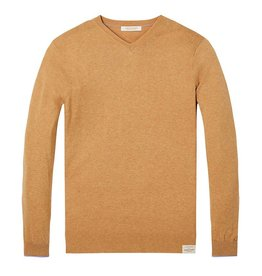 Scotch & Soda Classic V-neck Pull In Soft Cotton | Desert